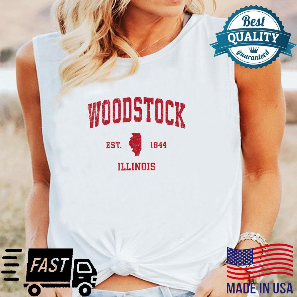 Woodstock Illinois IL Vintage Sports Design Red Print Shirt long sleeved